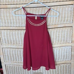 Deep red Tank top with gold bar neck attached